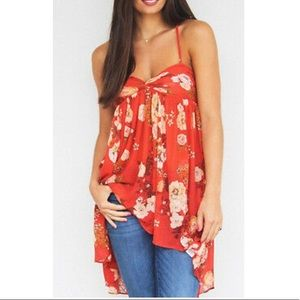 Free People Mirage Spaghetti Strap Top Red Floral